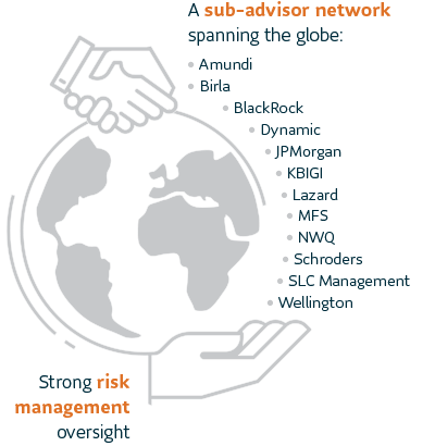 A sub-advisor network spanning the globe: Amundi, Birla, BlackRock, Dynamic, JPMorgan, KBIGI, Lazard, MFS, NWQ, Schroders, SLC Management, Wellington. Strong risk management oversight.